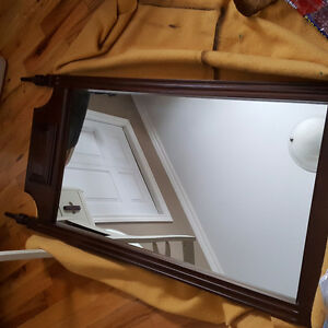 Large antique solid wood frame mirror
