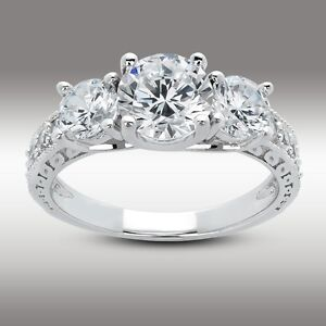 Three Stone Engagement Ring 2.61 Ct Round Brilliant Accents 14K Solid White Gold