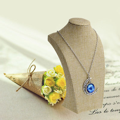 Mannequin Linen Bust Jewelry Necklace Pendant Neck Model Display Stand Holder