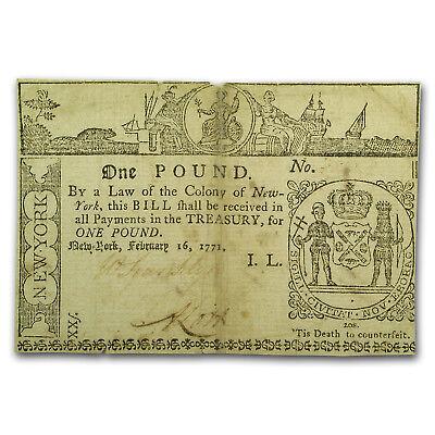 1771 1 Pound New York Currency 2/16/1771 XF