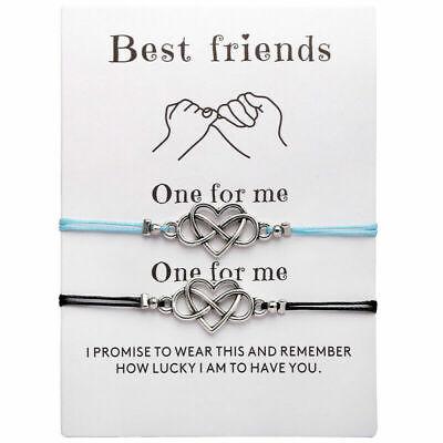 Simple Love Heart Friendship Bracelet Jewelry Best Friend 8 Word Couple