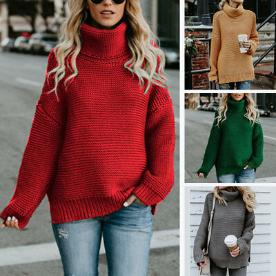61b90f556b Women Winter Warm Turtleneck Chunky Knitted Sweater Thick Knit Pullover  Jumper