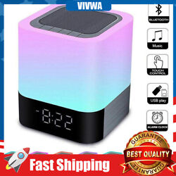 Bluetooth Speaker Lamp Wireless Touch Control Alarm Clock Dimmable Night Light