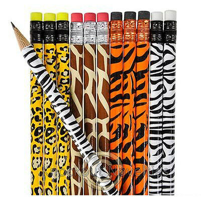 Dozen Animal Print Pencils Favor Party Gift Bag Fillers Prize Prizes Assortment - Animal Print Pencils