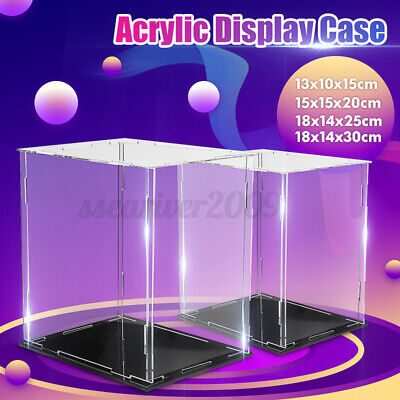 Clear Acrylic Plastic Display Case Perspex Box Dustproof Transparent 4 Sizes