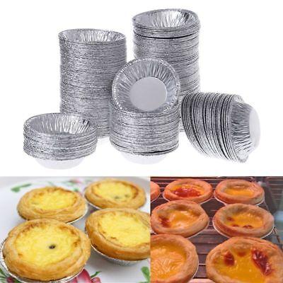 250pcs Disposable Aluminum Foil Baking Egg Tart Pan Cupcake Case Plate Mold Tin