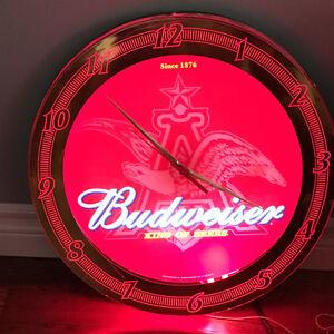 Neon Budweiser Bar Clock