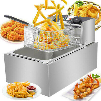 New 2500w 6l Commercial Electric Deep Fryer Restaurant Stainless Steel 6.3qt Us