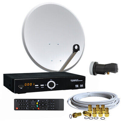 Satanlage 60 cm Spiegel HDTV RECEIVER 10m Kabel HD Single LNB 0,1 dB Sat Anlage Hd-single