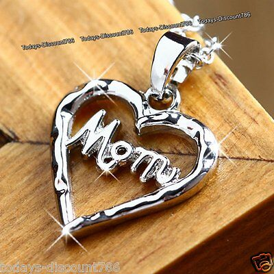 BLACK FRIDAY DEALS - NEW Gift For Her Mother Silver Heart Necklace Love Mom Mum ](black friday gift deals)