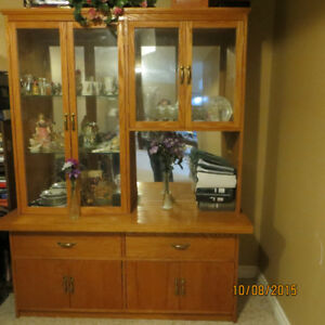 Solid Oak cabinet and hutch