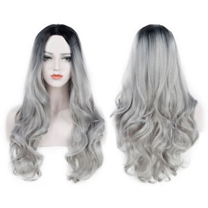 LONG Lacefront Wig Black to Silver Ombre 26-28 inches