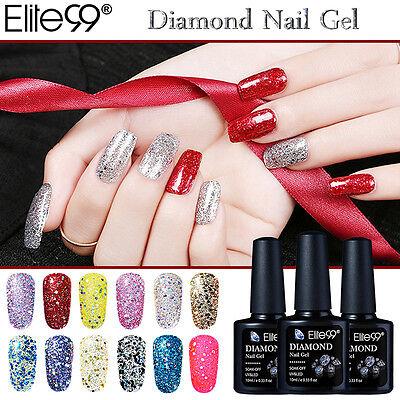 Elite99 UV Smalto Unghie Effetto Diamante Luccichio Glitter Top Base Coat 10ml