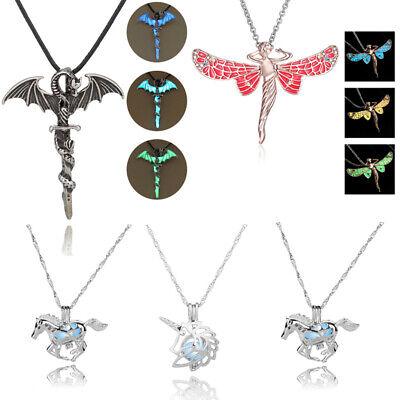 Glow In The Dark Cross (Vintage Luminous Glow In The Dark Cross Dragon Pendant Necklace Silver)