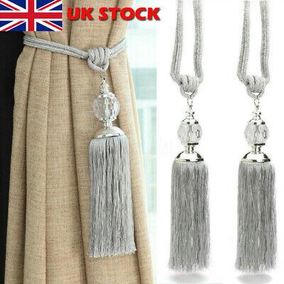 2PCS Curtain Holdbacks Rope Tie Backs Tassel Tiebacks Crystal Ball Decor UK