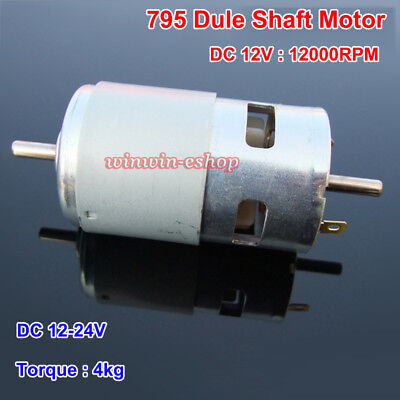 Rs-795 Dual Shaft Motor Dc12v 12000rpm High Speed Large Torque Dual Ball Bearing