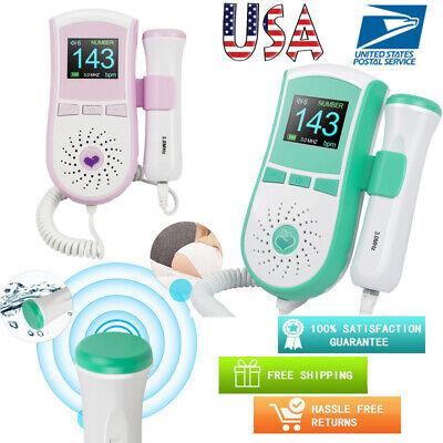 Lcd Fetal Doppler 3.0mhz Probe Baby Heart Beat Rate Ultrasonic Monitor Prenatal