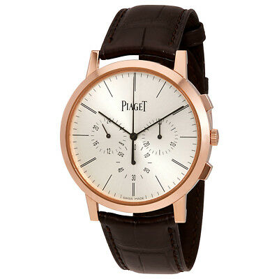 Piaget Altiplano Silver Dial 18K Rose Gold Leather Mens Watch GOA40030