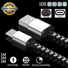 1M 2M 3M Trenzado USB Cargador Datos Cable Para Type-C Android Micro iPhone 8 7