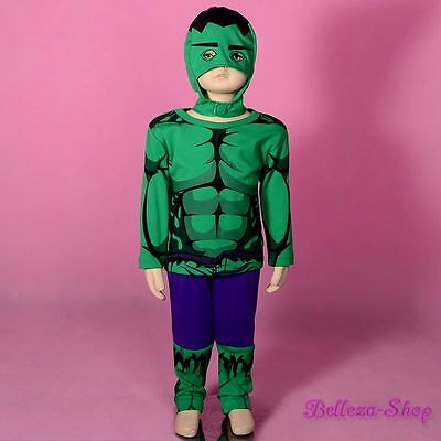 Superhero Incredible Hulk Avenger Fancy Costume Mask Outfit Halloween Sz 5-6 - Hulk Outfit