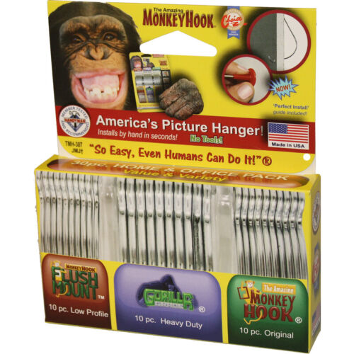 Monkey Hook Value & Variety Pack Galvanized Silver Monkey Picture Hanging Set