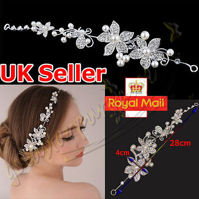 Silver Crystal Pearls Flower Hair Pin Wedding Bridal Headband Comb Hairpin Clip