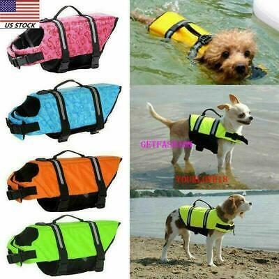 Adjustable Dog Life Jacket Pet Swim Clothing Float Coat Safety XS/S/M/L/XL