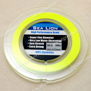 NEW-Sea-Lion-100-Dyneema-Spectra-Braid-Fishing-Line-300M-30lb-yellow