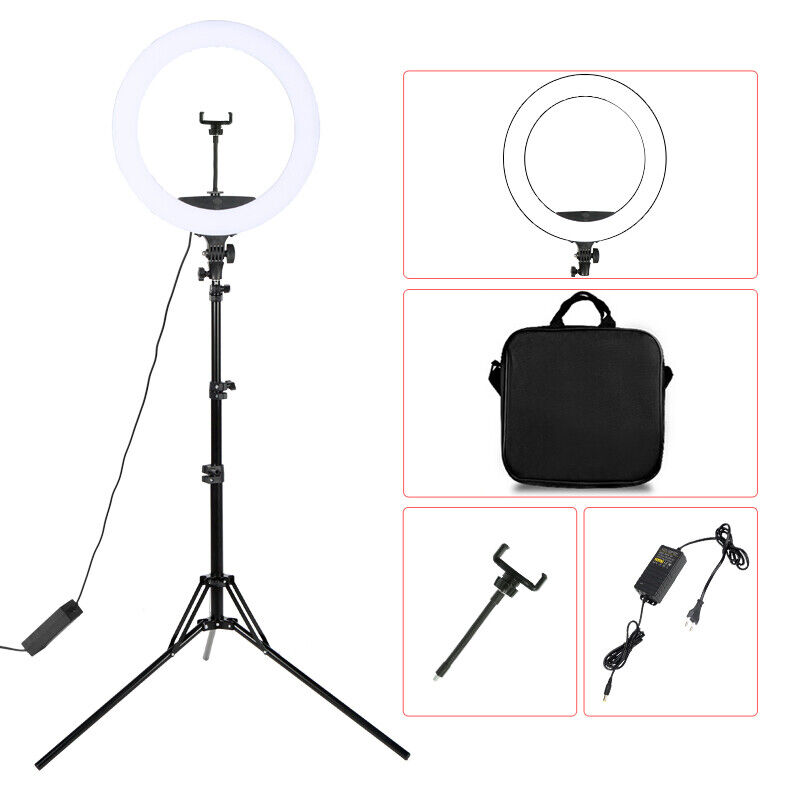 """18"""" inch LED Ring Light Bi-Color Kit 55W Dimmable 3200K-5600K with Tripod Stand"""