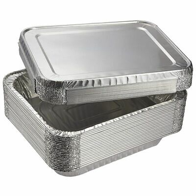 Aluminum Foil Pans 20-Piece Half-Size Deep Disposable Steam Table Pans with Lids