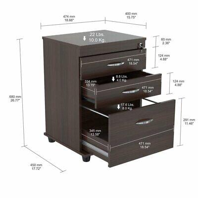 Inval Uffici 3 Drawer Espresso File Cabinet