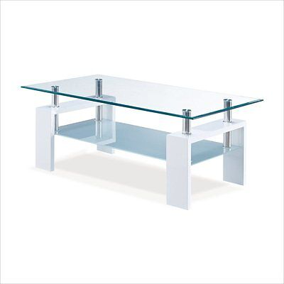 Global Furniture USA 2-Tier Glass-Top Coffee Table w - Chrom