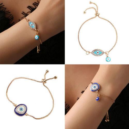 Damen Armband Armreifen Armkette Armbänder Türkisches Auge Strass Gold Schmuck