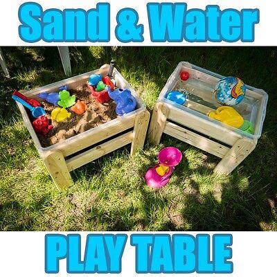 WOODEN SAND & WATER SANDPIT PLAY TABLE GARDEN KIDS  INDOOR/OUTDOOR HANDMADE