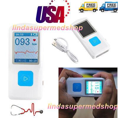 Usa Fda Ce Portable Ecg Ekg Machine Heart Beat Monitor Usb Bluetooth Lcd Contec