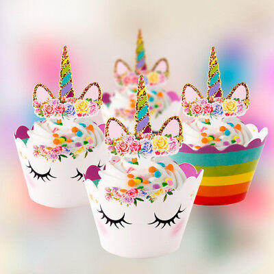 24PCS Unicorn Cupcake Toppers Wrappers Rainbow Baby Shower Kids Birthday Supply