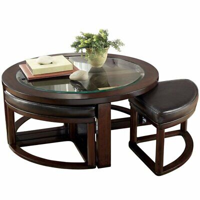 Bowery Hill Coffee Table with 4 Stools in Dark Brown