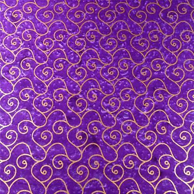 Montego Bay Batik, Metallic Gold Scrolls on Bright Purple, Cotton Fabric - Purple Metallic