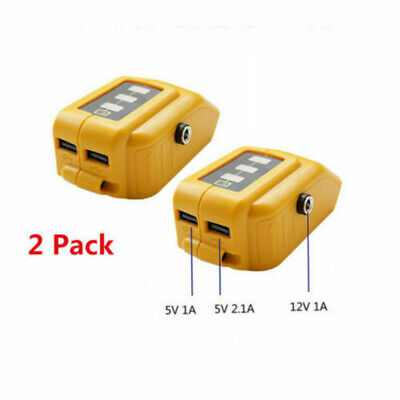 2x Usb Mobile Charger Adapter With Dc 12v Output For Dewalt Dcb091 Slid Battery