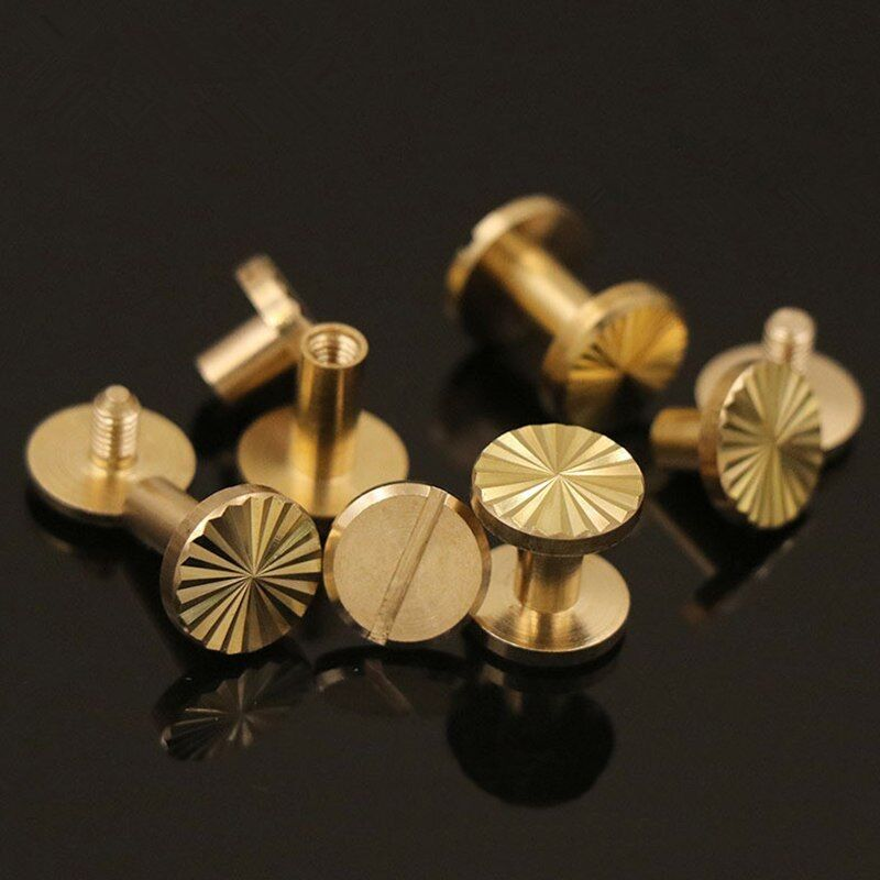 Solid brass screw stud leather craft with postal nail binding book rivets tacks