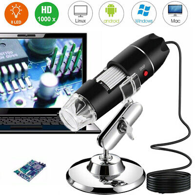8led 500x 1000x 10mp Usb Digital Microscope Endoscope Magnifier Camera Stand