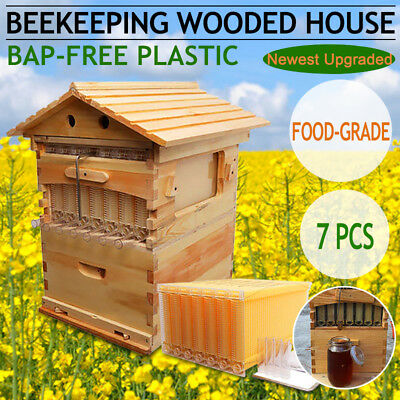 7pcs Auto Honey Beehive Hive Frames Beekeeping Cedarwood Super Brood Box