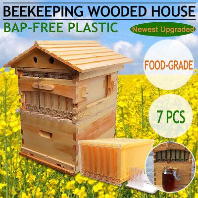 7 pcs Auto Honey Beehive Hive Frames + Beekeeping Cedarwood Super Brood Box