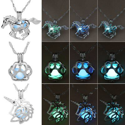Glowing Necklace (Horse Paw Print Hollow Luminous Glow In The Dark Pendant Necklace Jewelry)