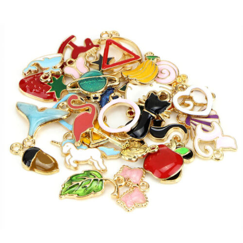 30PCS Mixed Enamel Beads Pendants Charms Craft DIY Jewelry Findings  P MWUS