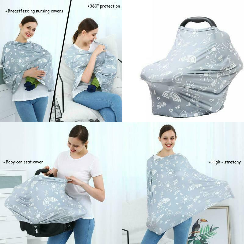 Busy Mom Baby Car Seat Canopy Super Soft Cotton Multi Use Nursing Scarf Infant Stroller Cover for Girls and Boys Nursing Cover for Breastfeeding