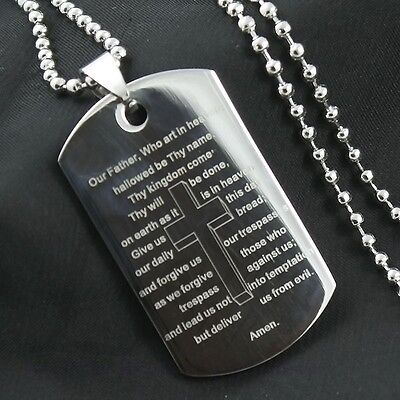 Men's Bible Scriptures Cross Dog Tag Stainless Steel Pendant Chain Necklace J25