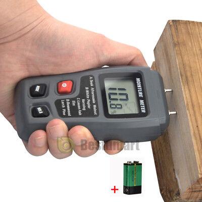 Lcd Display Digital Wood Moisture Meter Humidity Tester Detector 2 Pins Probes