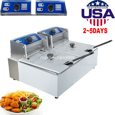 Electric 16L Dual Tanks Deep Fryer Commercial Tabletop French Fryer Fast Food