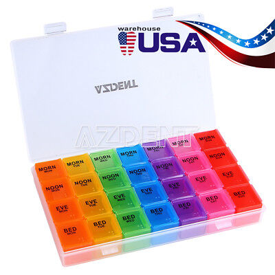 US Medicine Organizer Rainbow Weekly Pill box storage container 7 day TravelCase